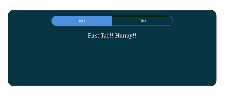 """Same React app with tabs as before, but with only """"First tab! Hurray!"""" written below each tab with Tab 1 highlighted in blue"""