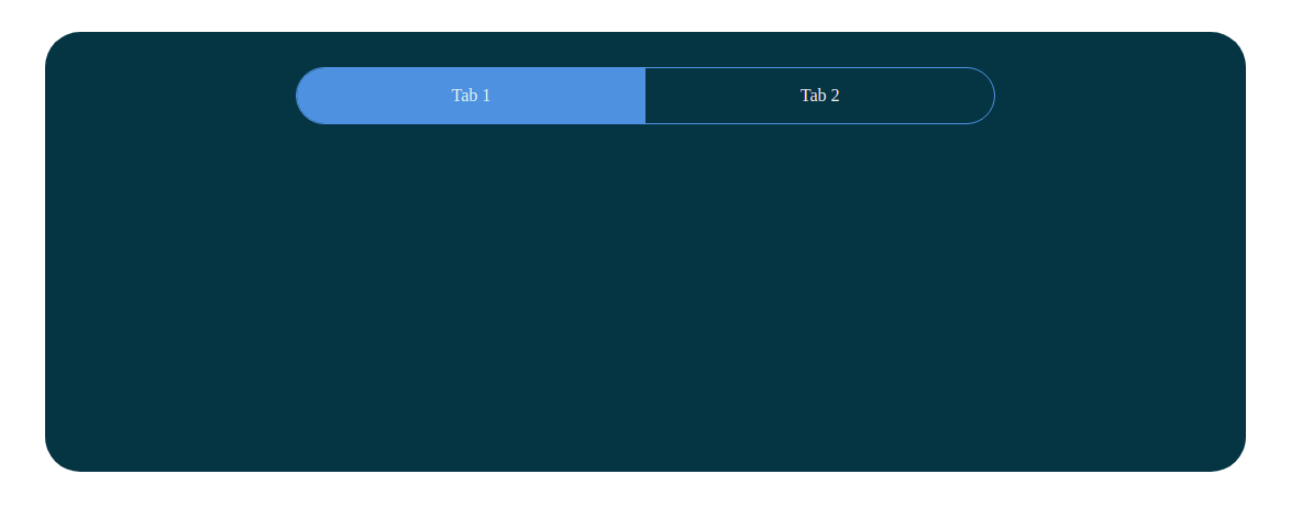 Screenshot of basic React app with two tabs at the top; one is highlighted in blue