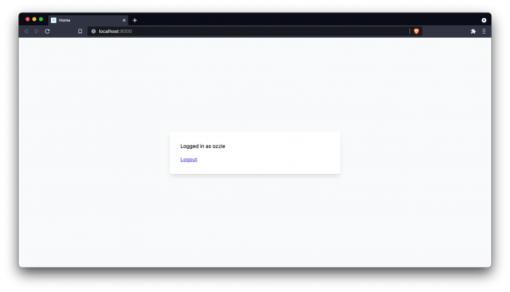 """Screenshot of a Laravel web app that reads """"logged in as Ozzie - logout"""""""