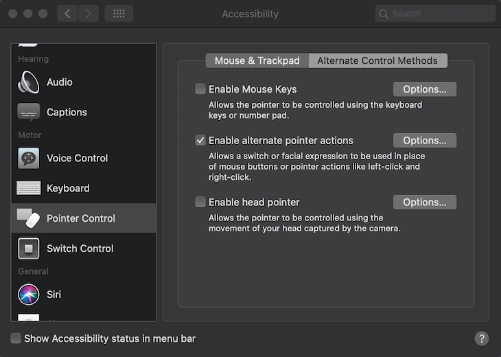 Screenshot of pointer control settings on a mac