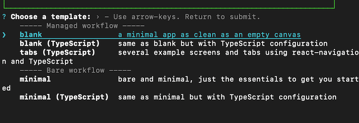 Select A Blank Template To Get The Minimum Dependencies