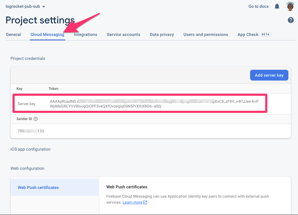 Screenshot of highlighted server key in Firebase project settings