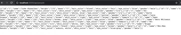 Screenshot of Star Wars character data