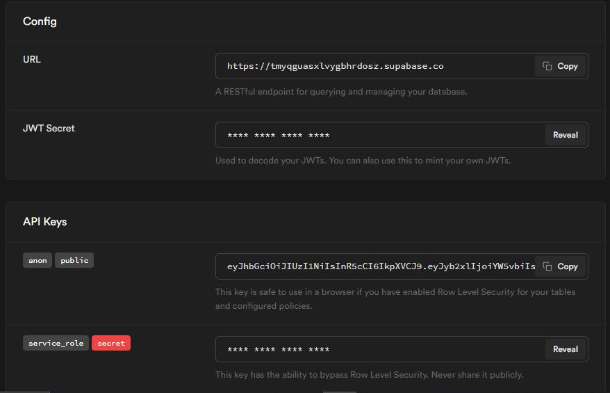Screenshot of Supabase config screen