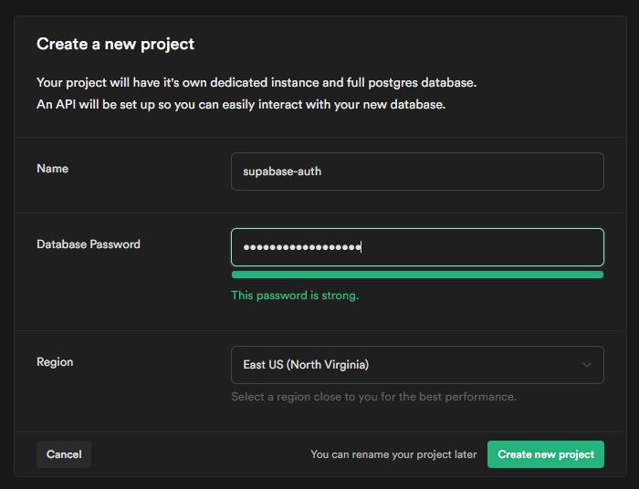 Screenshot of supabase create new project screen