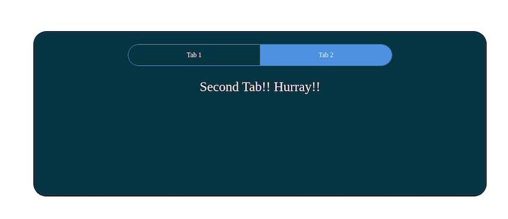 """Same React tabs app as before, this time with Tab 2 highlighted in blue with the words """"second tab! Hurray!"""" displayed beneath."""