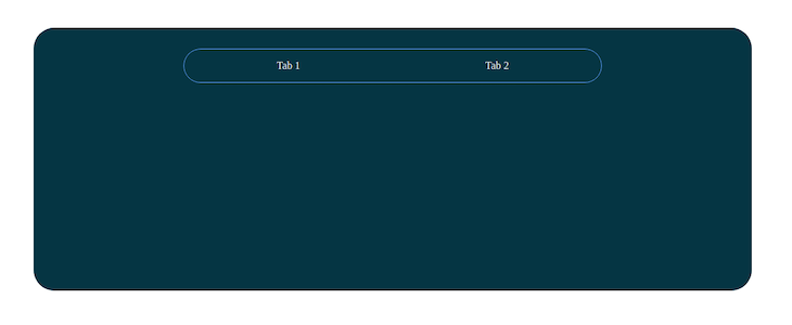 Screenshot of a basic React app with two tabs towards the top of the page that are not separately defined.