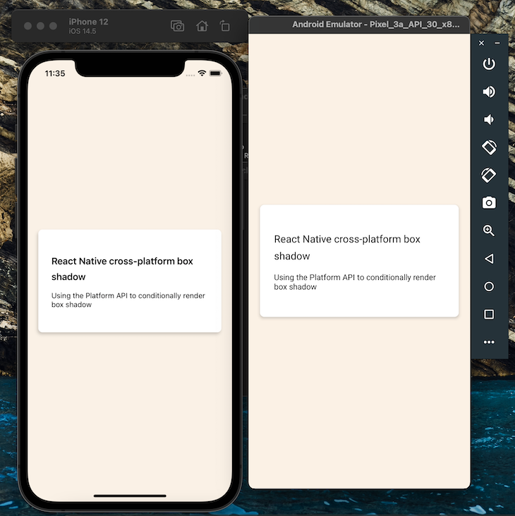 Using The Platform API To Render Shadow Box In Both iOS And Android