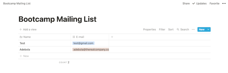 Bootcamp Mailing List Notion