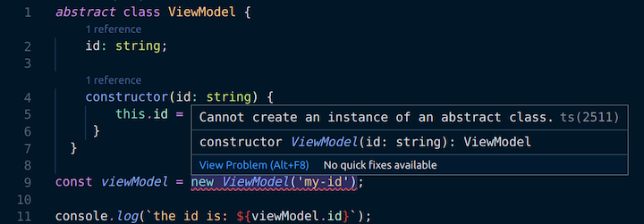 Cannot Create an Instance of an Abstract Class Error in VS Code
