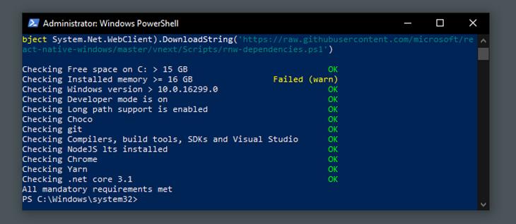 Checking prerequisites for React Native for Windows development