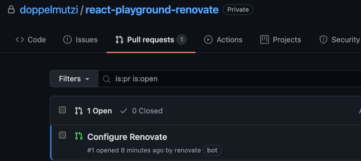 Configure Renovate Being Opened By Renovate
