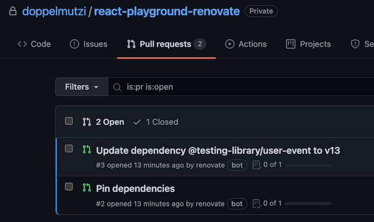 Renovate Creates Onboarding MRs for Update Dependency and Pin Dependencies