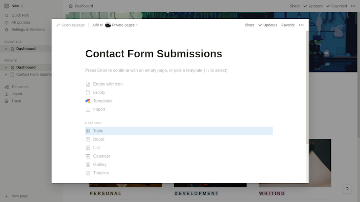 Dashboard To Create A Contact Page With Table Database