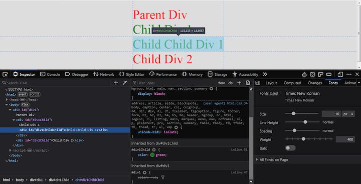 CSS Inheritance Example