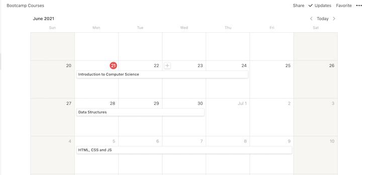 Data Entered Calendar
