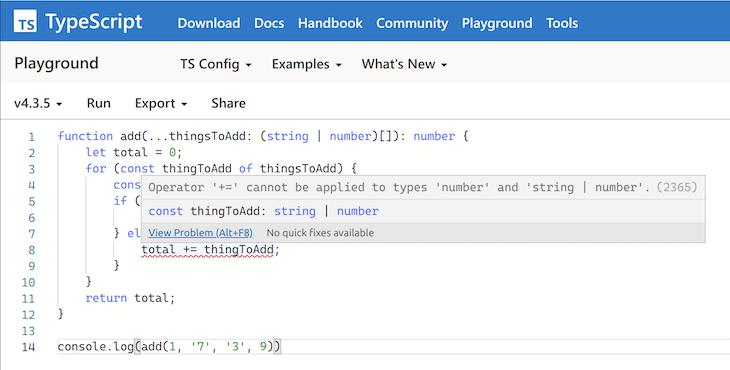 TypeScript 4.3 Error