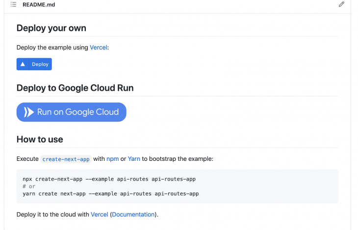 Screenshot of project's github repo featuring a large blue button that says Run on Google Cloud