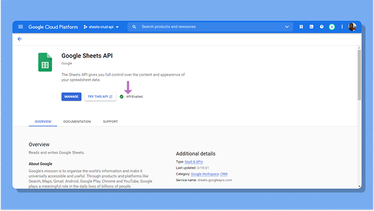 Enable the Google Sheets API