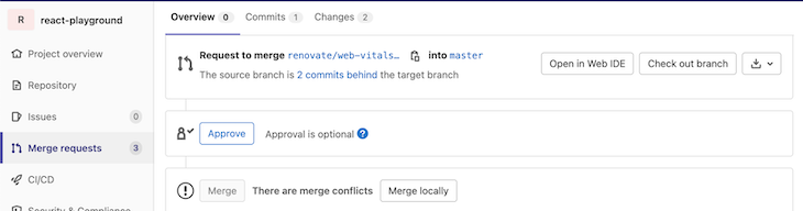 Dashboard Showing Merge Conflicts Awaiting Request To Merge