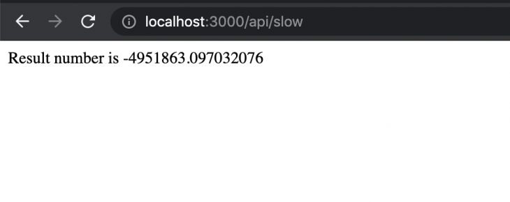 """Screenshot of previously calculated number on port 3000 with """"API slow"""""""