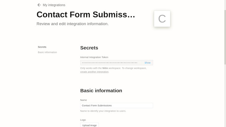My Integrations Section In Notion Database