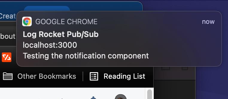 Screenshot of test notification
