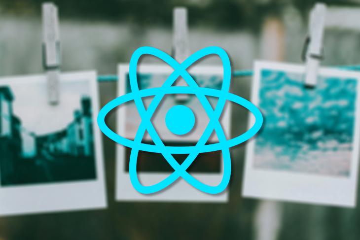 React Native Logo Over a Background of Polaroid Photos