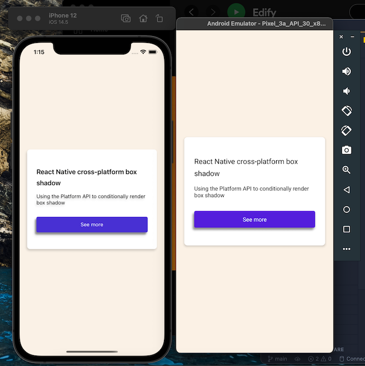 Using React-Native-Shadow-2 To Apply Box Shadow Underneath A Card In iOS and Android