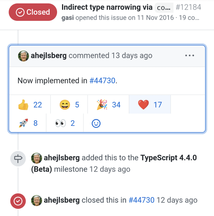 Reactions on GitHub to TypeScript's Indirect Type Narrowing