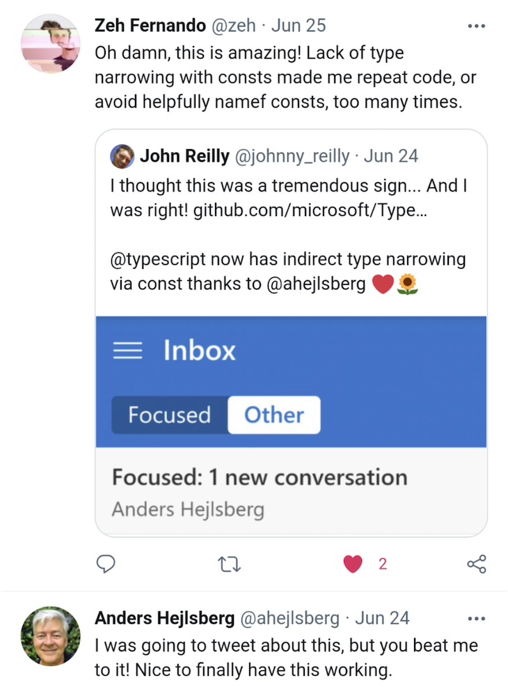 Reactions on Twitter to TypeScript's Indirect Type Narrowing