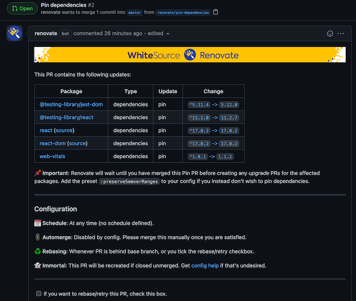 Renovate Page Of The Pinning MR Removing The Dependency Range Versions
