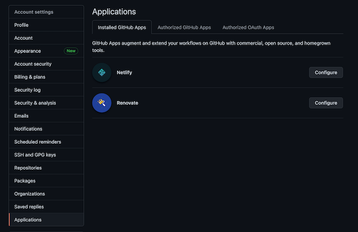 Applications Configuration Section On Renovate