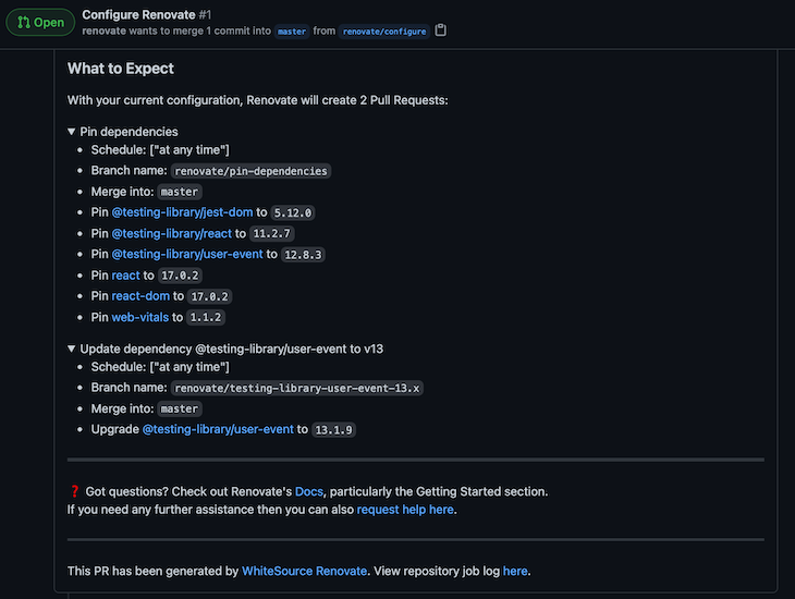 Renovate's Detailed List Of Pin Dependencies And Update Dependencies