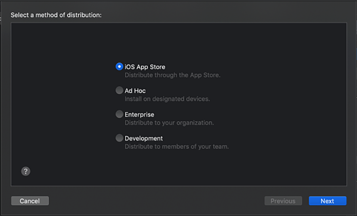 Select a method of distribution menu in App Thinning