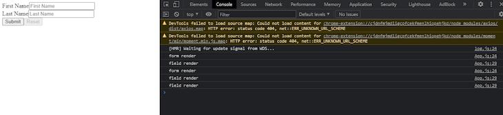 Starting React Final Form Server Output