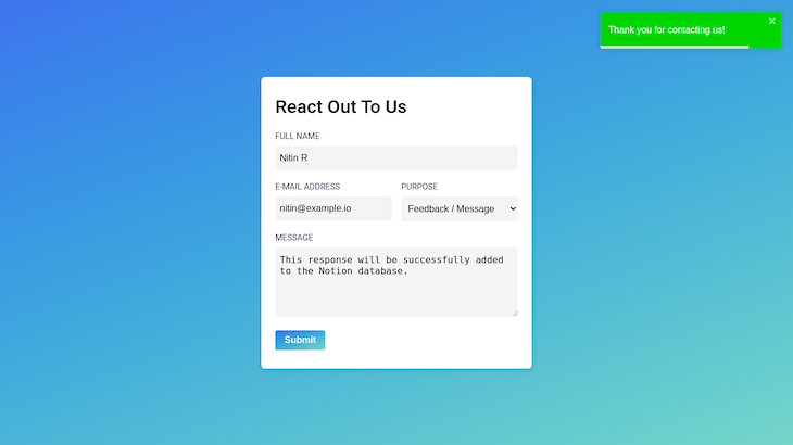 Contact Form Submitted With A Green Confirmation Message