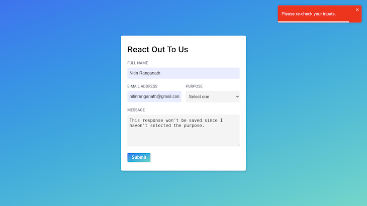 Contact Form Attempted To Submit With Red Unsuccessful Messages