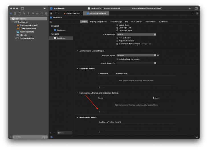 Xcode Frameworks, Libraries, and Embedded Content