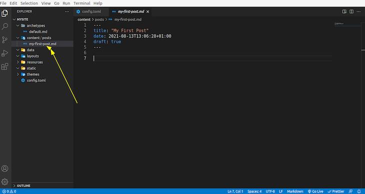 Adding Content In The Content Folder In Visual Studio Code