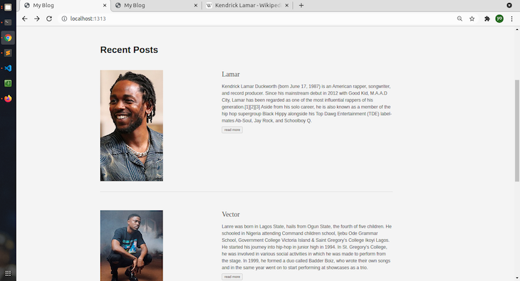 Adding More Content To The App; Shows Images Of Kendrick Lamar and Vector With Descriptions