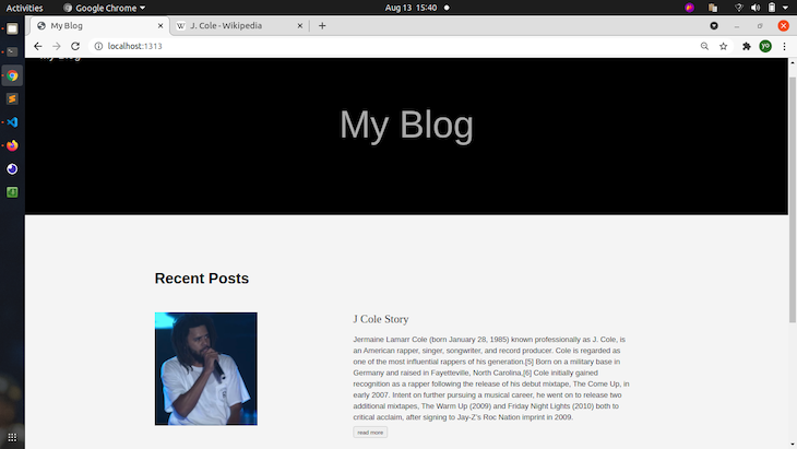 Biographical Content Added To Hugo App; Shows A Picture Of J Cole And Description