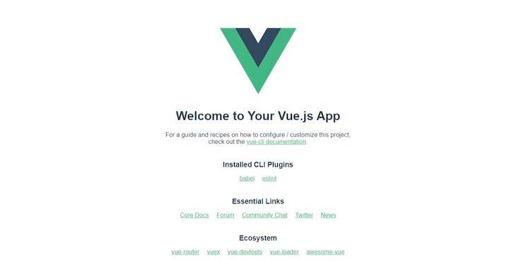 Screenshot of blank Vue app