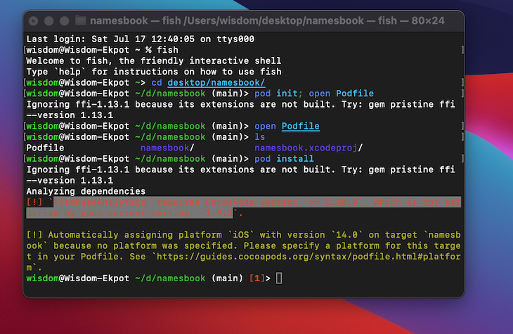 CocoaPods Error Highlighted In Terminal Indicating Need For CocoaPods Update