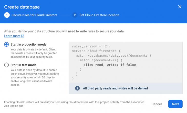 Screenshot of create database page in Cloud Firestore