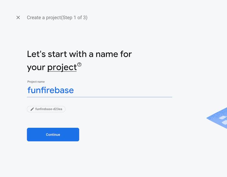 Creating A New Firebase Project Named funfirebase