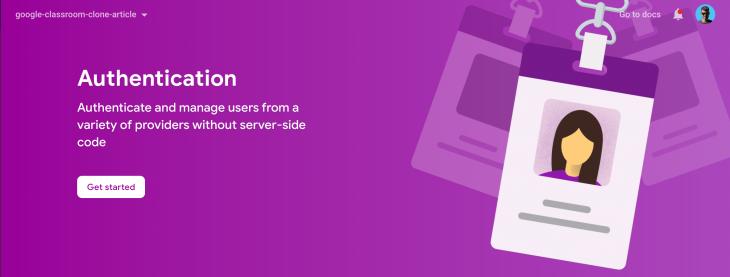 Screenshot of Firebase Authentication screen
