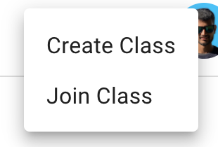 """Screenshot of a menu that has """"create class"""" and """"join class"""" options"""