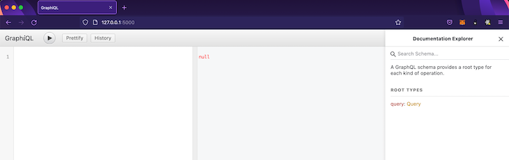 Screenshot of blank GraphiQL interface
