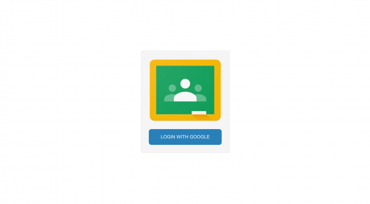 """Screenshot of example app with Google Classroom logo and text that says """"login using google"""""""